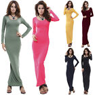 Womens Casual Stretch Plain Bodycon Long Sleeve Evening Jersey Maxi Long Dress