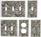 IMAGE OF STONE TILE HERRINGBONE PATTERN LIGHT SWITCH COVER PICK  U PICK   SIZE