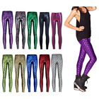Rare Womens Mermaid Fish Net Scale Skinny Stretch Slim Pant Leggings