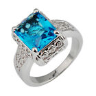 Sz6/7/9/10 Emerald Cut Aquamarine Lab Sapphire Wedding Ring Lady 10KT White Gold