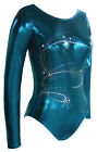 *Aerial* Long sleeve girls gymnastics leotard/Teal Mystique/Bling 28,30,32,34