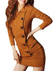 Allegra K Ladies Convertible Collar Long Sleeve One-piece Dress