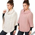 Womens Warm Chunky Cable Knit Funnel Turtle Neck Poncho Cape Jumper Sweater Top