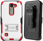 RUGGED TRI-SHIELD CASE w/ STAND + BELT CLIP HOLSTER FOR LG ESCAPE-2 SPIRIT LOGOS