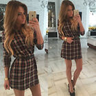 Womens Long Sleeve Mini Dress Jumper Tops Pullover Bodycon Checks Blouse Shirts