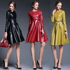 New Fashion Women's Leather Bodycon Slim Dress Casual Long Party Cocktail Dress