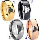 Tungsten Claddagh Logo 8MM Dome Gold IP Black Silver Rose Men's Ring