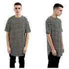 Fashion Men's Striped Cotton T-shirts Hoodie Curved Hem Bottoming Tops