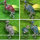 Cocktail Finger Ring Colorful Crystal Glass Pave Crowned Crane Bird Adjustable