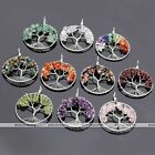 Reiki Natural Stone Tree Of Life Chips Bead Healing Chakra Pendant For Necklace