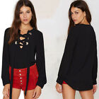 Fashion Charming Women Loose Chiffon Lace Up Bandage T-shirt Blouse V-neck Top