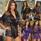 Women Lace Satin Intimate Sleepwear Babydoll Dress Nightwear Sexy Lingerie Set
