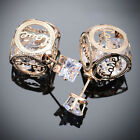 Charm Double Face Women Earrings Romantic Style Mesh Design Crystal Love Studs T