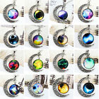 NEW Galaxy Universe Interstellar crossing Crescent Moon Glass Cabochon Necklace