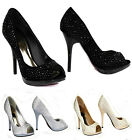 Ladies Women's Bridal's Fashion Diamante Beaded Embellished Designer Heel Shoes