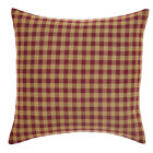 """Country Primitive Burgundy & Tan Check Toss Pillow Cover 16"""" Rustic Cabin"""