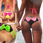Womens Bowknot Thongs Brazilian G-string Cheeky Bikini Bottom Underwear Swimwear