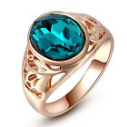 Women's Popular 9K Gold Plated Blue Ellipse Crystal Party Ring Jewelry US 6-8