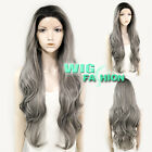 "20"" / 28"" Long Wavy Black Mixed Grey Lace Front Wig Heat Resistant"
