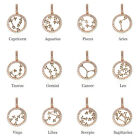 925 Sterling Silver Pendant Horoscope Chain Necklace Jewelry 12 Constellation