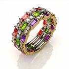 Baguette Birthstone Stackable Ring Platinum, Yellow & Rose Gold Plated Silver
