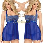 NEW Sexy Lingerie Women's Underwear Babydoll Sleepwear Blue Dress G-string
