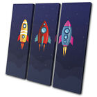 Space Cartoon Modern For Kids Room TREBLE CANVAS WALL ART Picture Print