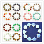 10pcs Beautiful mixed gemstone Fan-shaped Pendant bead DL023