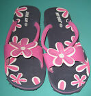 New Women Slippers shoes flower black pink Sz US 4 to 9