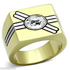 Mens Oval Shape Crystal Stone Double Silver Crossing Line Gold EP Ring