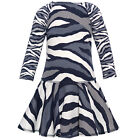 Kate Mack Little Girls Navy Grey Zebra Print Drop Waist Christmas Dress 4-6X