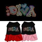 Technicolor Diva Dog Rhinestone Dog Dress Puppy Spring Designer Clothes Apparel
