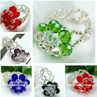 Womens Crystal Glass Beads 2-layer Flower Cocktail Finger Ring Dazzling Fashion