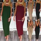Summer Women Crew Neck Strappy Backless Cocktail Evening Party Maxi Dress Gown