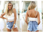 Womens Sexy Ripped Destroyed Shorts Tassel Lace Floral  Denim Jeans Skinny Pants
