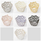 50pcs Laser Cut Cupcake Paper Wrappers Wraps Cases Wedding Baby Cake Butterfly