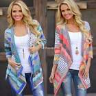 Womens Striped Irregular Long Sleeve Knitted Cardigan Casual Loose Coat Outwear