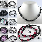 1pc Womens Adjustable Crystal Rhinestone Disco Ball Beads Weave Macrame Necklace