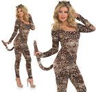 Ladies Cougar Catsuit Fancy Dress Costume Sexy Leopard Jungle Cat Outfit