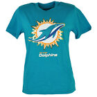 NFL Miami Dolphins Youth Tshirt Tee Turquoise Glitter Short Sleeve Cotton Large
