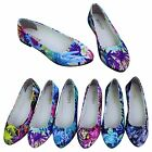 Women Ladies Floral Print Ballerina Ballet Dolly Flat Loafers Slip-on Pump Shoes