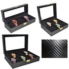 Black Carbon PU Watch Box Watches Bracelet Glass Screen Display Storage Case UK