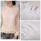 Women's Elegant Stand Collar Long Sleeve Casual Crochet Lace T Shirt Blouse Tops