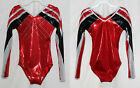 """Scarlett"" Girls L/S Long sleeve competition gymnastics leotard Foil/Crystals"