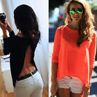 Women's Sexy Backless Long Sleeve Loose Top Casual T-shirt Simple Summer Blouse