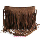 Faux Suede Layered Fringed Trim Duffle Slouch Messenger Across Body Shoulder Bag