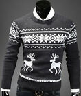 Men Vintage Novelty Jumper Print Sweater Xmas Rudolph Knitted Pullover Fairisle