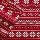 Cuddl Duds FAIR ISLE Heavy Weight 5 oz Cotton FLANNEL Sheet RED WHITE Snowflakes