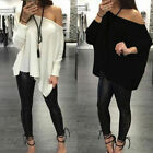 Plus Size Women Loose Pullover T Shirt Long Sleeve Off Shoulder Top Shirt Blouse