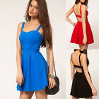 Sexy Women Backless Sleeveless Mini Dress Skater Evening Cocktail Party Dresses